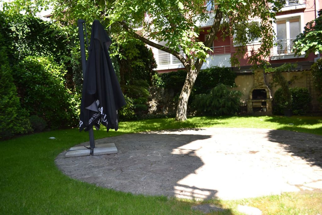Back yard with barbeque