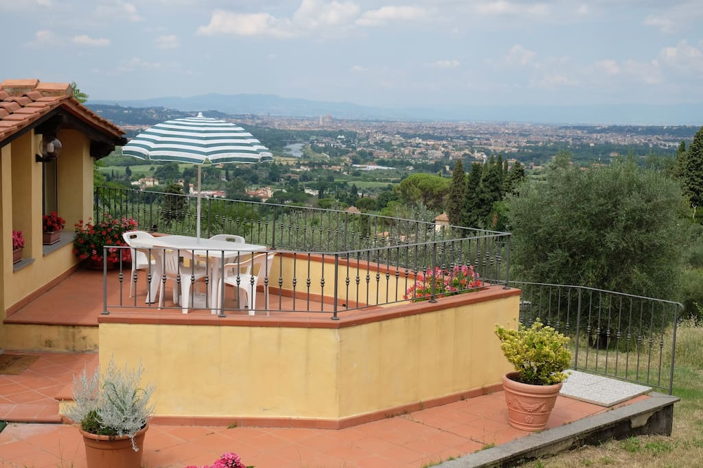 Balcony of Villa Violetta, with the view of all Florence