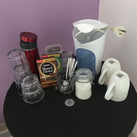 Coffee and tea facilities are available. Choose between instant or fresh ground coffee or perhaps tea with milk.