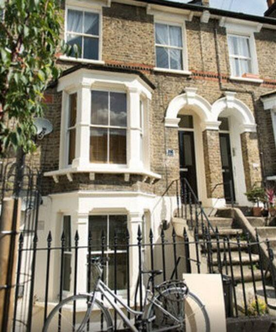 Front elevation, converted Victorian flat on quiet street
