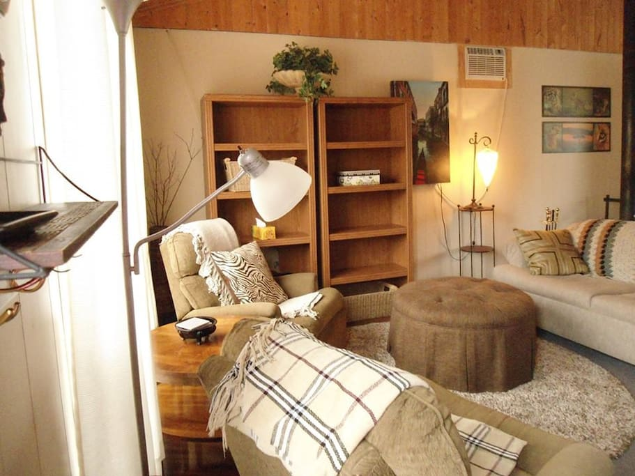 Cozy open living room with pullout sofa bed