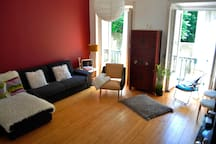 Our sunny living room has plenty space for everyone.