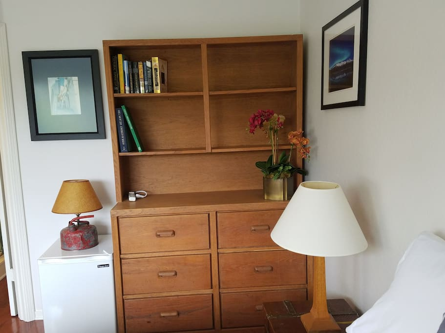 Features of the space. Fun fact: lamp and chest were hand made by co-host Harold