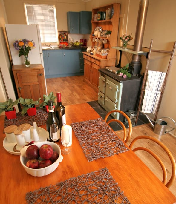 Quaint kitchen and dining at Applegrove Schoolhouse.