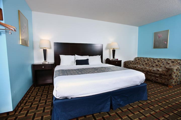 We love having you here. It's Sky-Palace Inn & Suites- Accessible Bed
