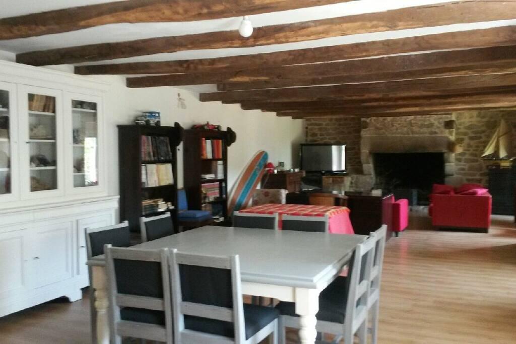 Son très grand salon séjour de 70 m2... bibliothèque à disposition