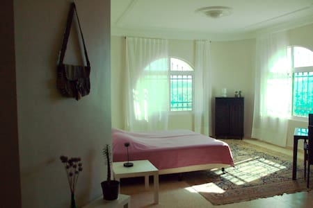 Spacious light (family)room with view and terrace. - wadi mousa