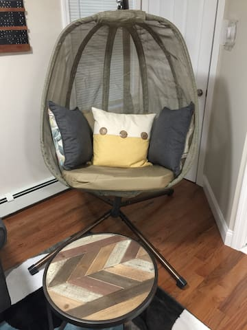 Swing chair is perfect for reading or just taking some downtime