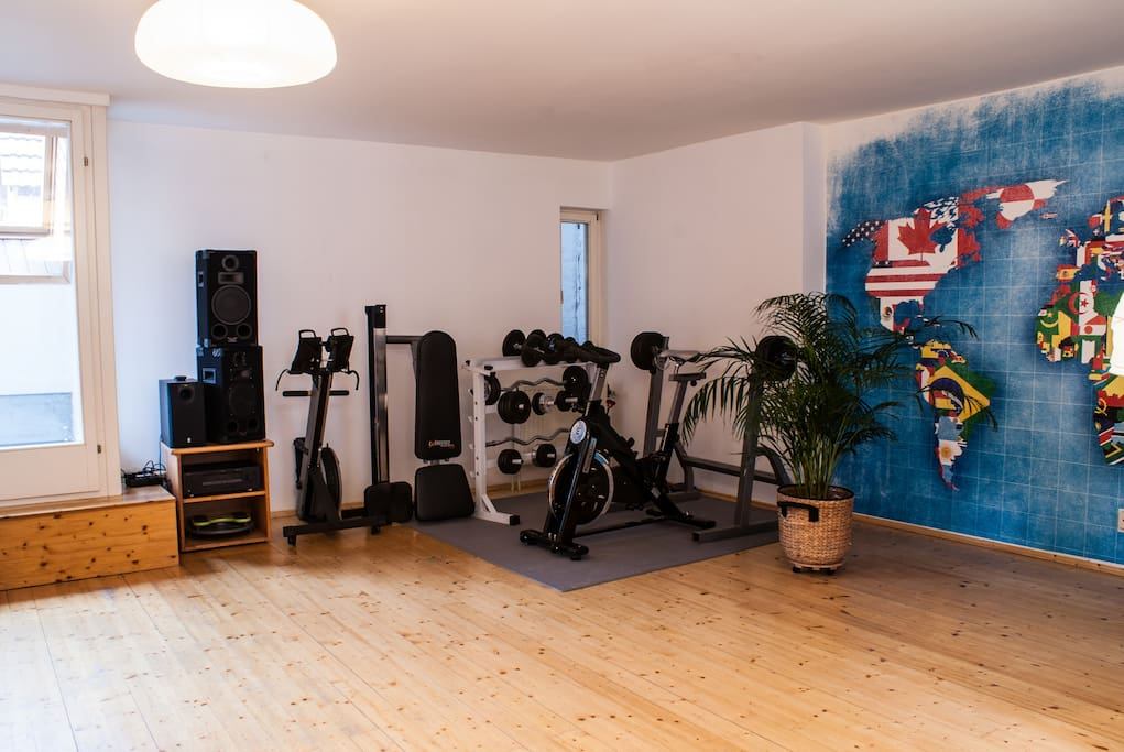 the gym offers a Spinning bike, TRX, rowing machine & free weights.