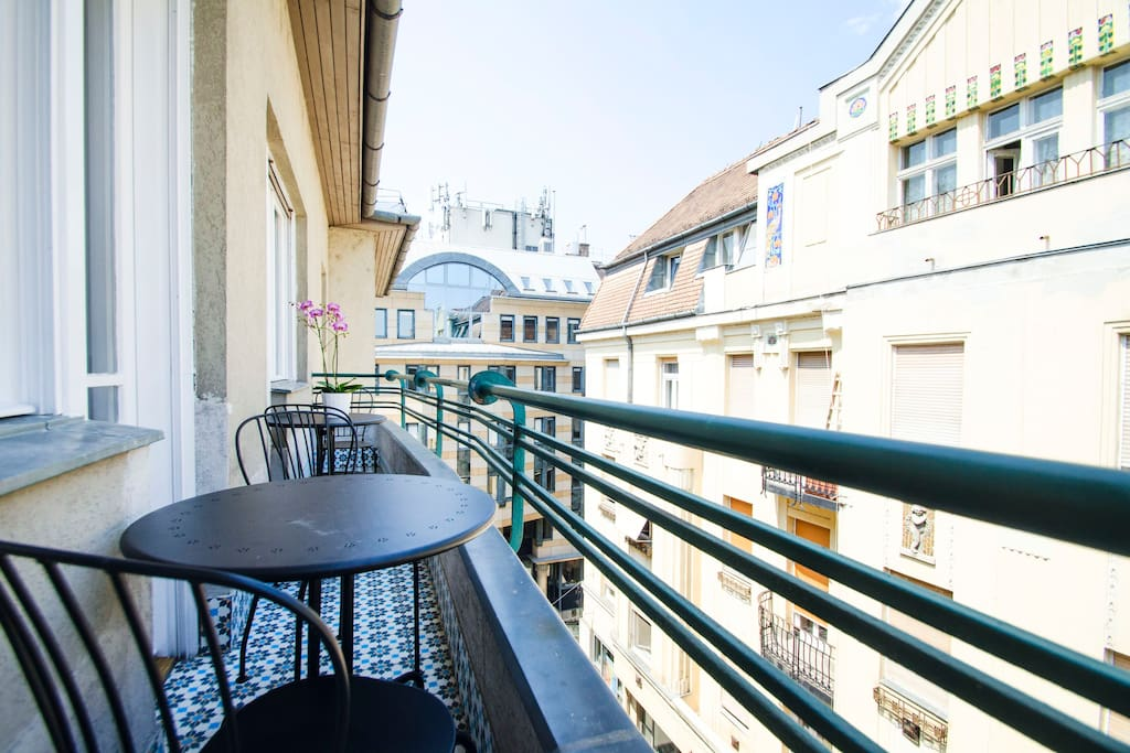 the apartment has an amazing terrace with a pretty view on the skyline of the city, its a great place to enjoy the complimentary coffee or tea or just to relax after a day of sight seeing :)