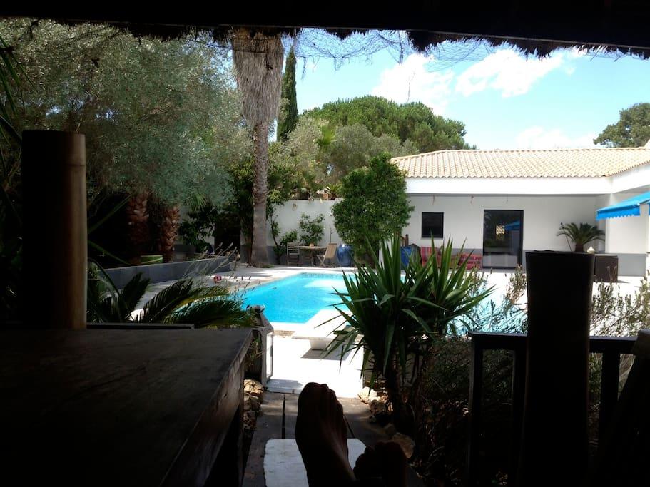 vue du gazebo,endroit très agréable pour se relaxer,ombrage,vue sur la piscine,musique,table pour y manger,
