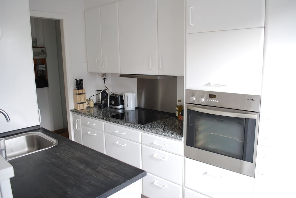 Open kitchen with all appliances available