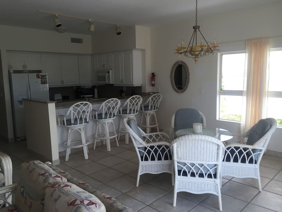 Shared access to full kitchen and dining area.