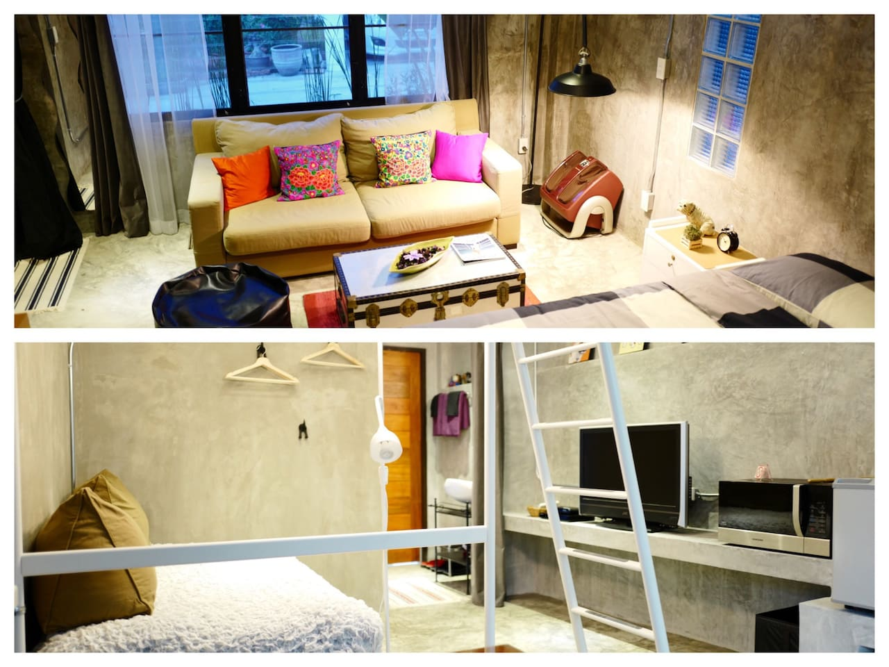 2 studios conveniently near each each other for accommodating a group of up to 7 people traveling together.