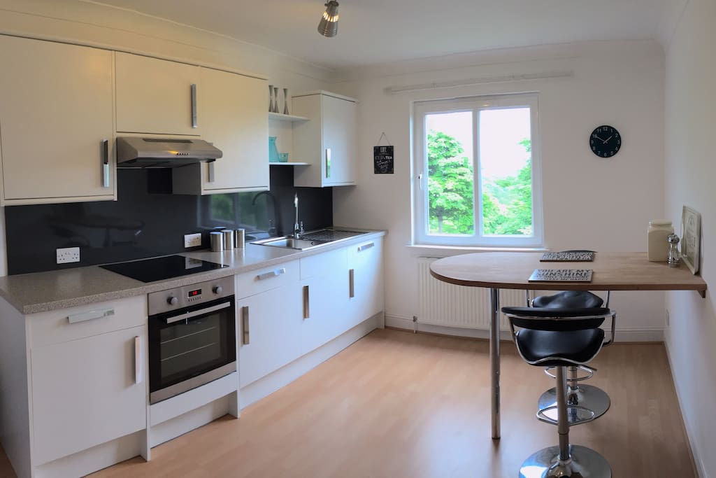 Kitchen, including coffee and tea making facilities, washing machine, oven, hob and fridge/freezer.