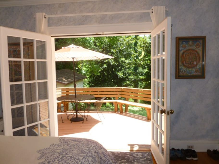 French doors in your room open onto backyard deck