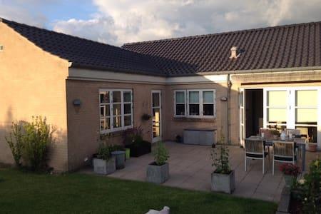 Smukt moderne hus i frodig have - Huis