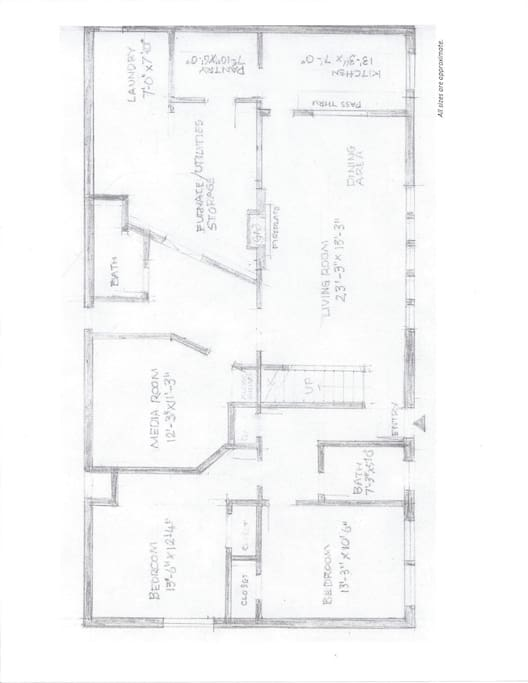 The floor plan with approximate dimensions