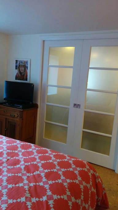 Private and quiet. Bedroom sliding doors; lockable inside door; separate entrance
