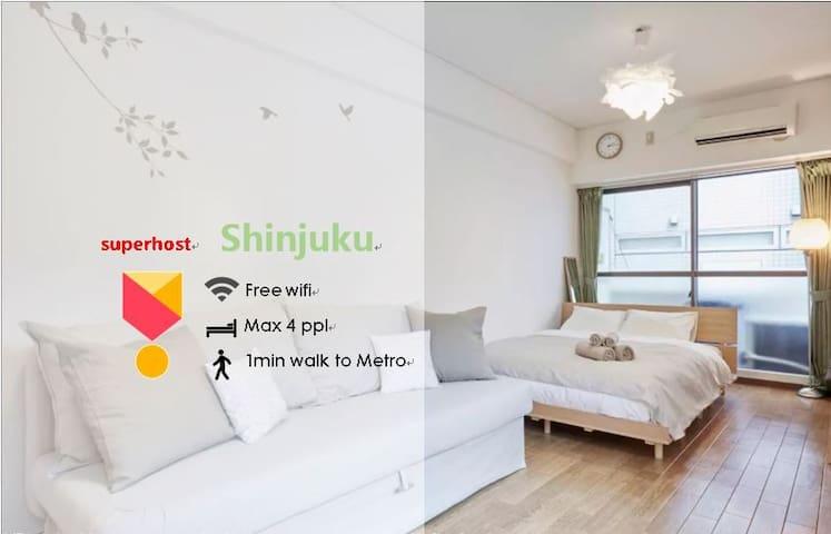 SHINJUKU steps to metro Bright &Cozyfree wifi