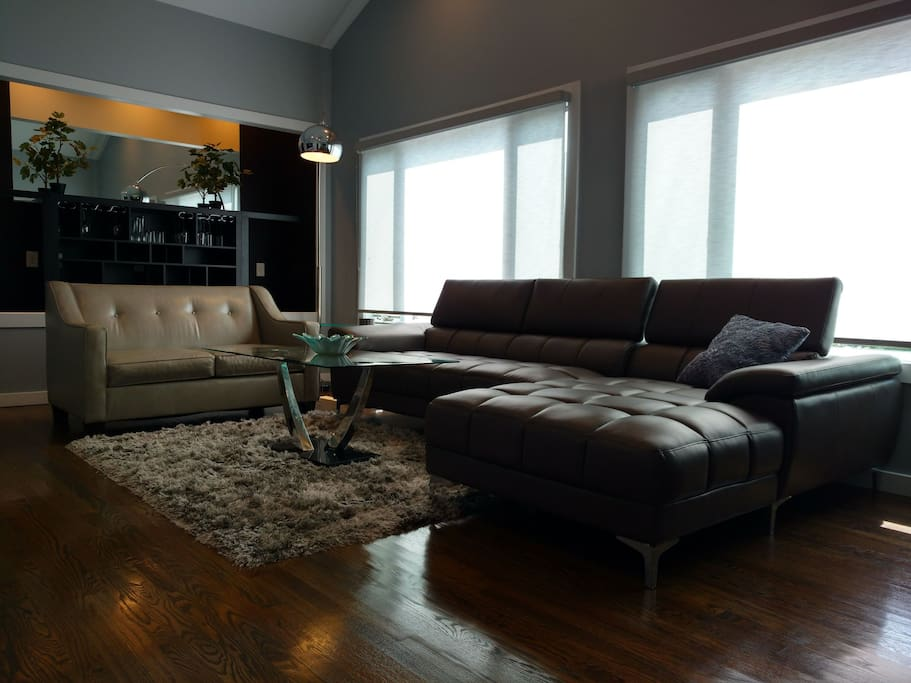 Ample seating in sleek, modern living room with cathedral ceilings