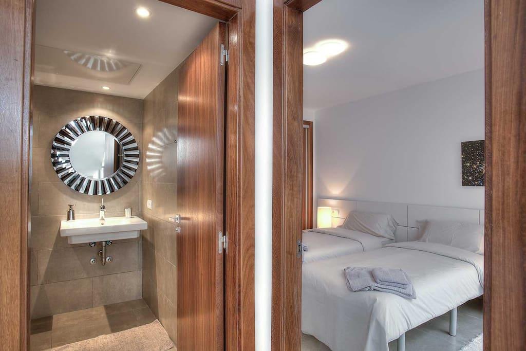 Bedroom and shared bathroom