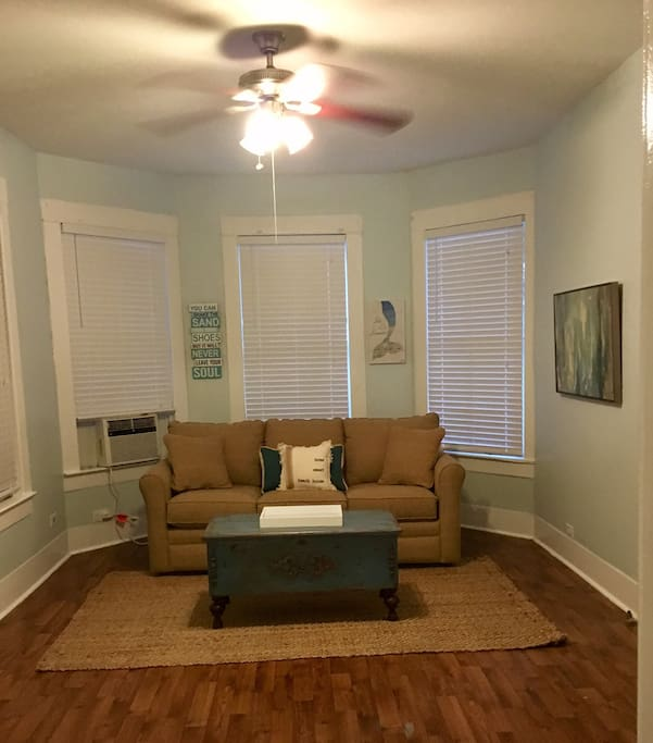 Living room with premium sofa bed..  42 in TV with Roku.. Netflix and Hulu included..