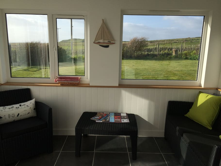 The sun porch with views to the outer Hebrides