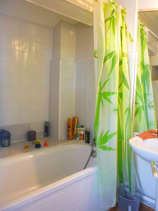 Salle de bain avec une baignoire et un toilette