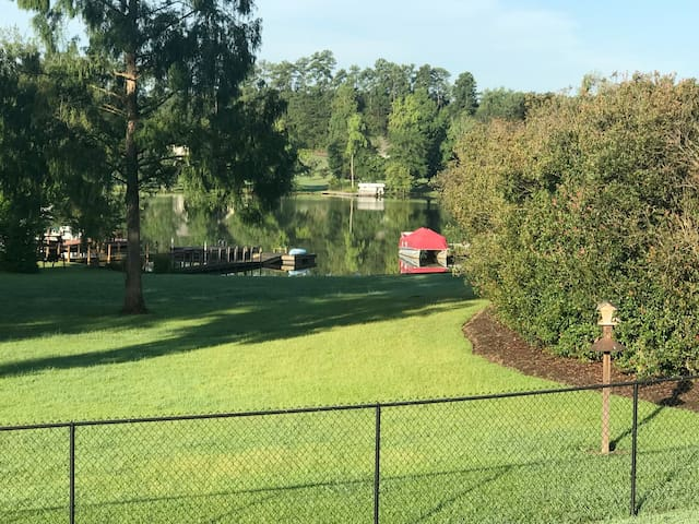 Lake front with dock, driveway lots of parking