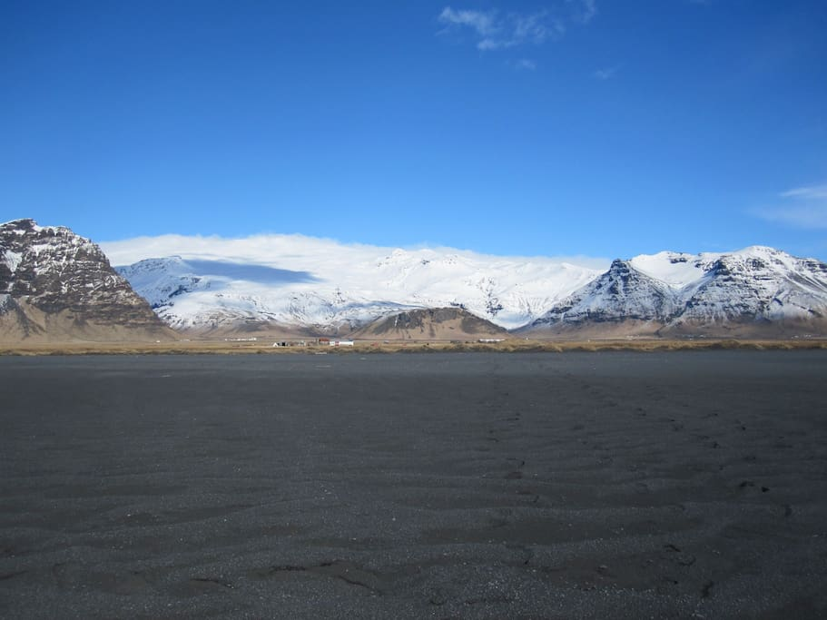 Eyjafjallajökull as seen from our private black beach.