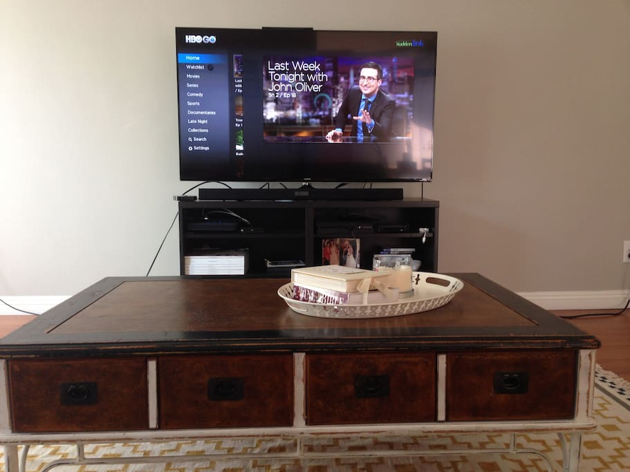 HBO, Netflix, Playstation. Use this awesome 50 inch TV with amazing sound for whatever ya want. I do recommend John Oliver!