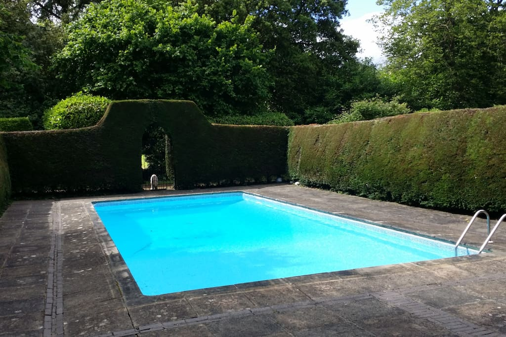 Pool is secluded, and heated, open (weather permitting mid-May - mid Sept)