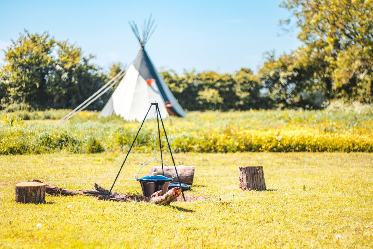 Each Tipi has its own camp fire set up to cook, and a wood burning stove inside to keep warm and cosy in the night.