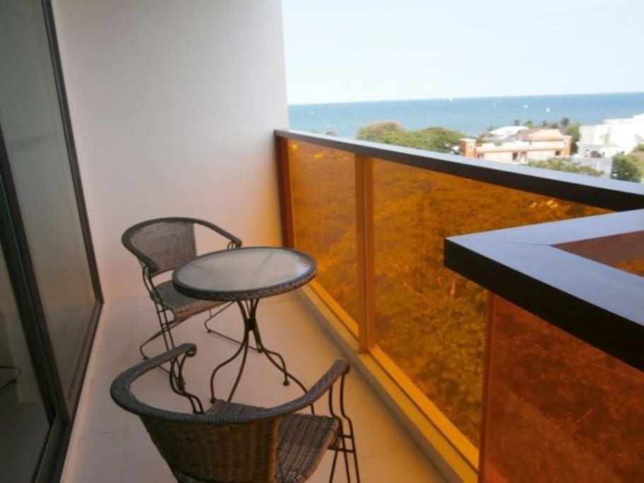 Balcony with sea view.