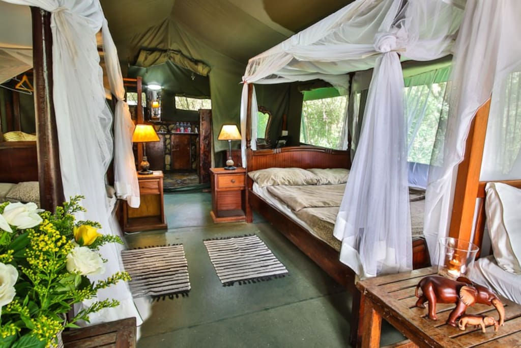 tent variation #2 with up to four twin beds // comfort tent with beautiful view to Talek river