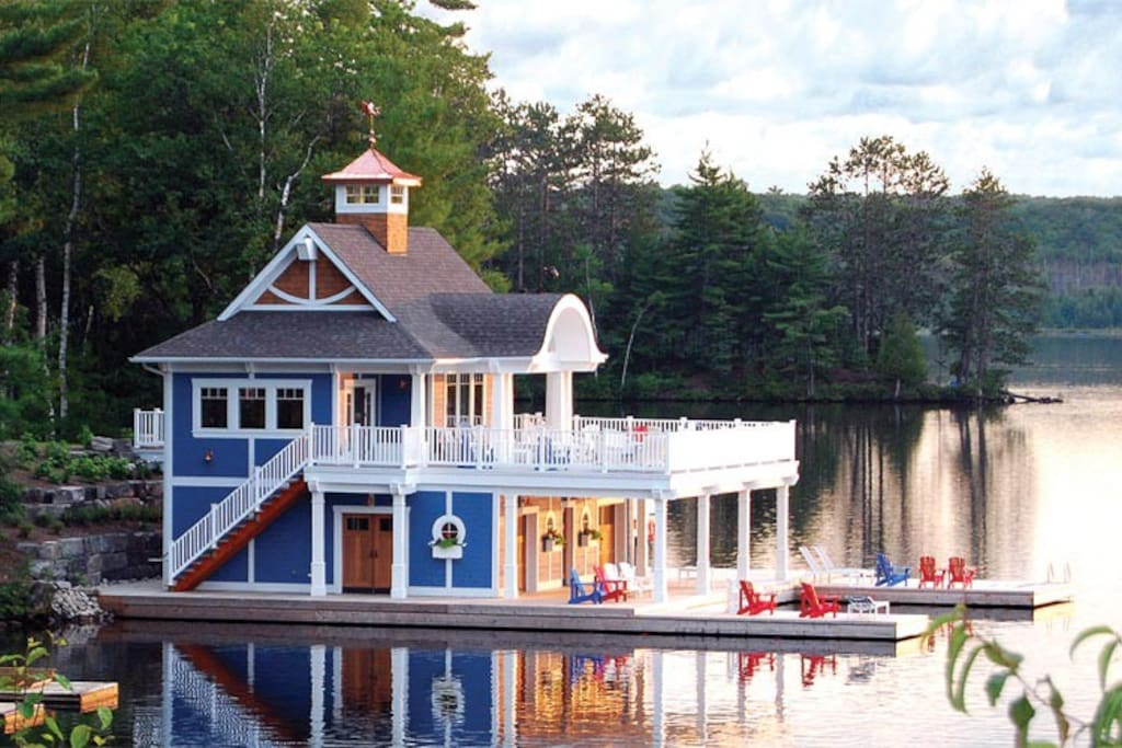 Boathouse with plenty of seating areas (indoor and out) overlooking beautiful Lake of Bays