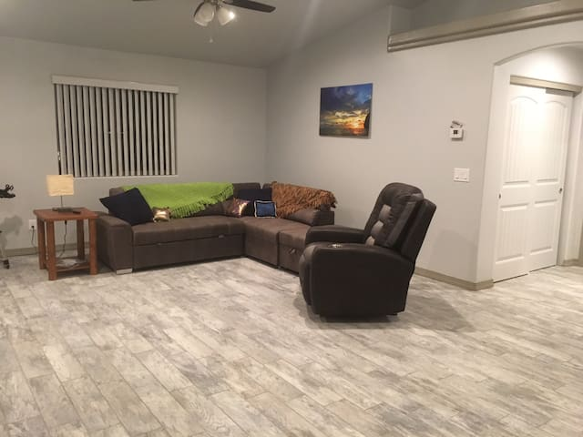 Living room with couch that converts to a bed.