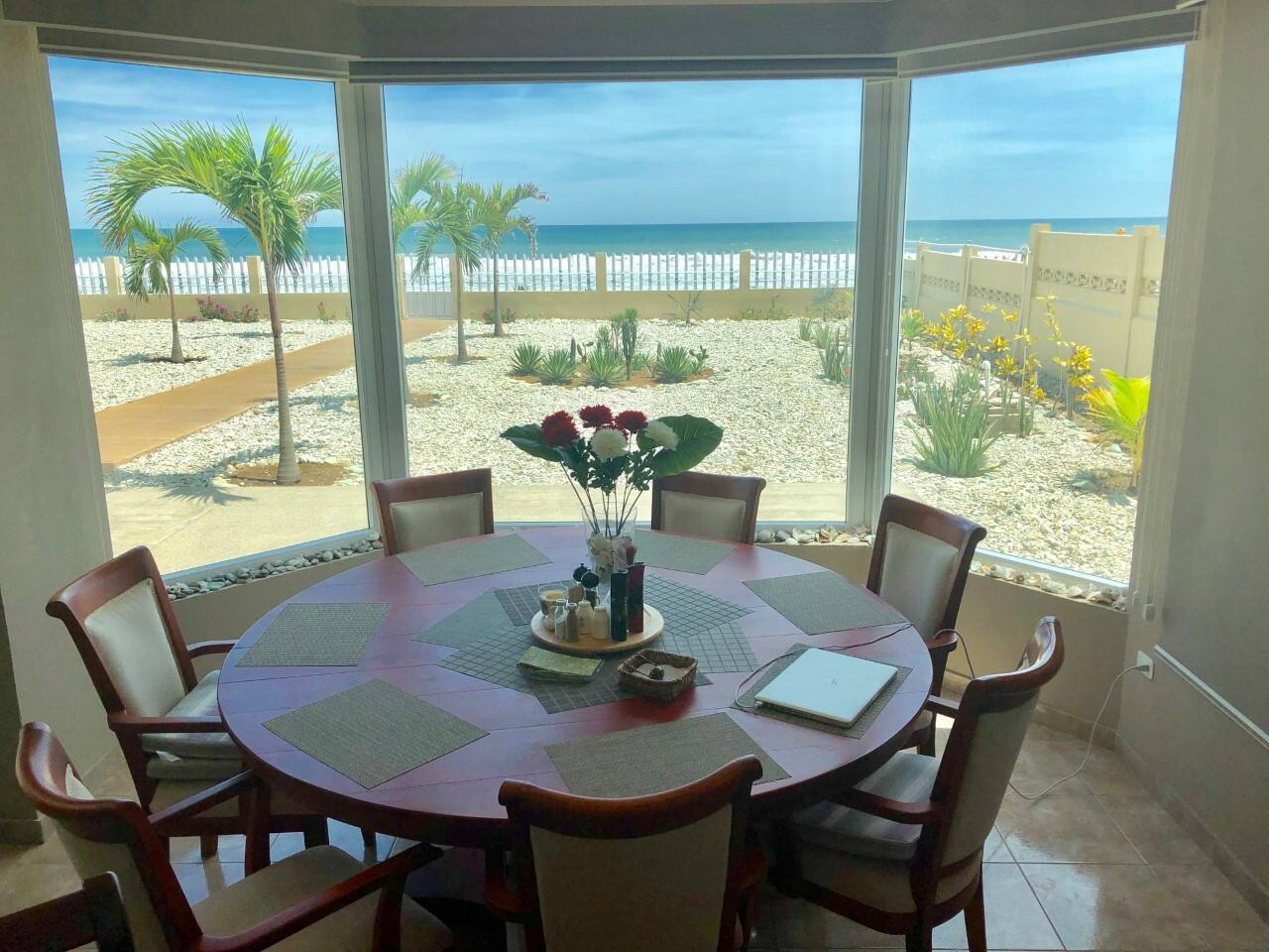 View of beach from our dining room