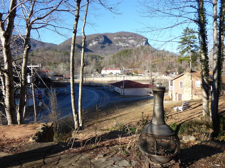 Year round views of Inn, Lake and Chimney Rock from our outdoor sitting area.