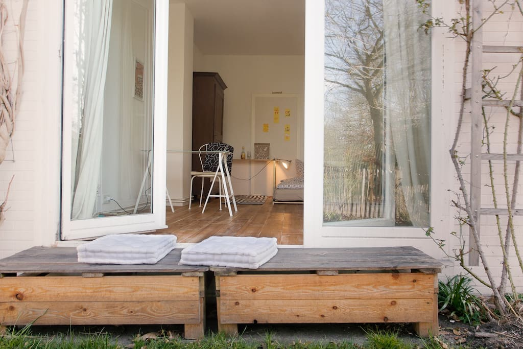 Bench in front of your room towards the front yard