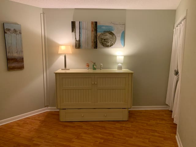 Second bedroom with Murphy bed folded up.