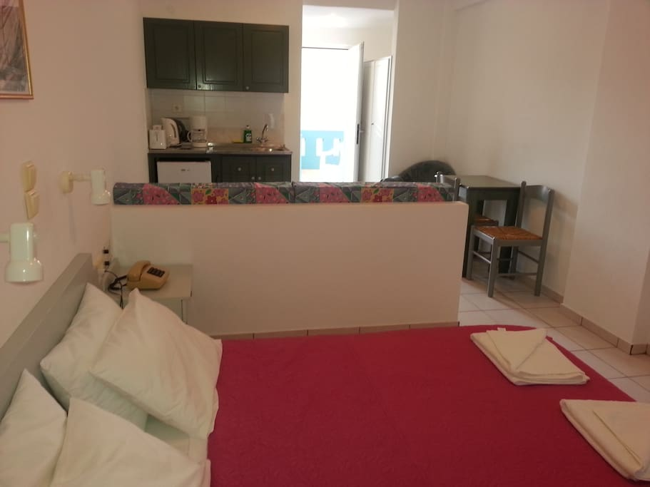 double bed room with mini kitchen and couch