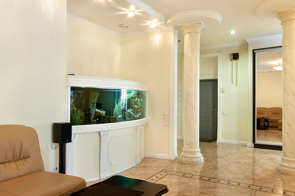 Very big living-room with fire-place & aquarium