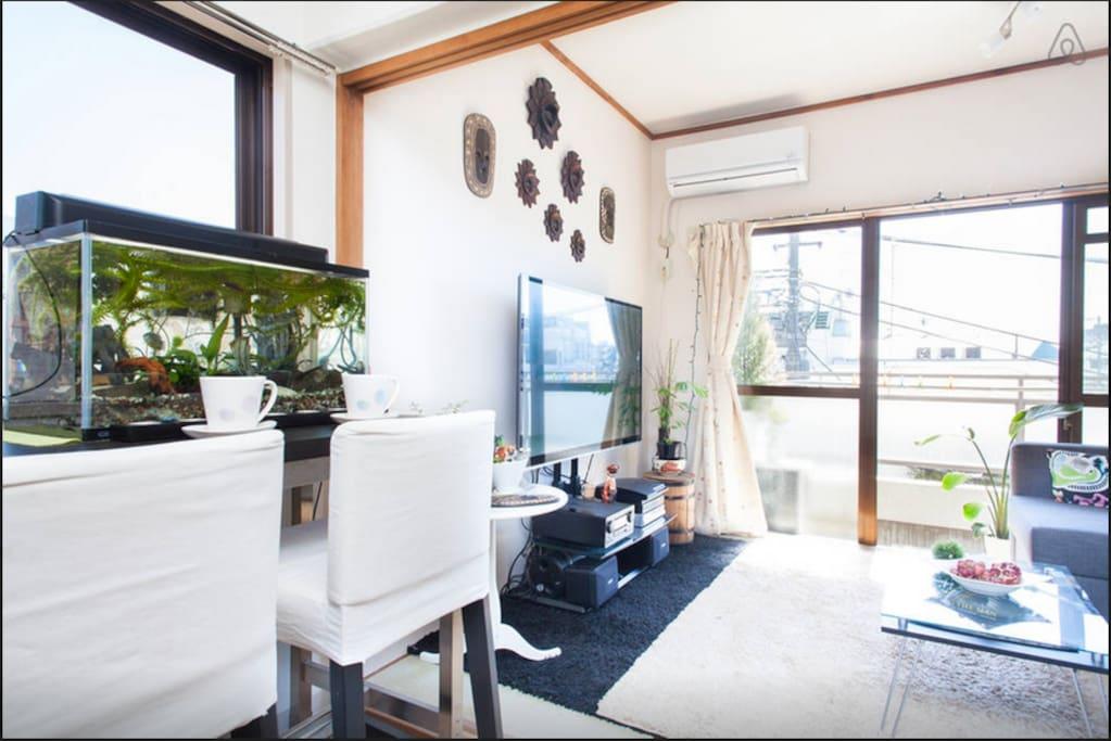 Open and bright room next to Shimokitazawa station