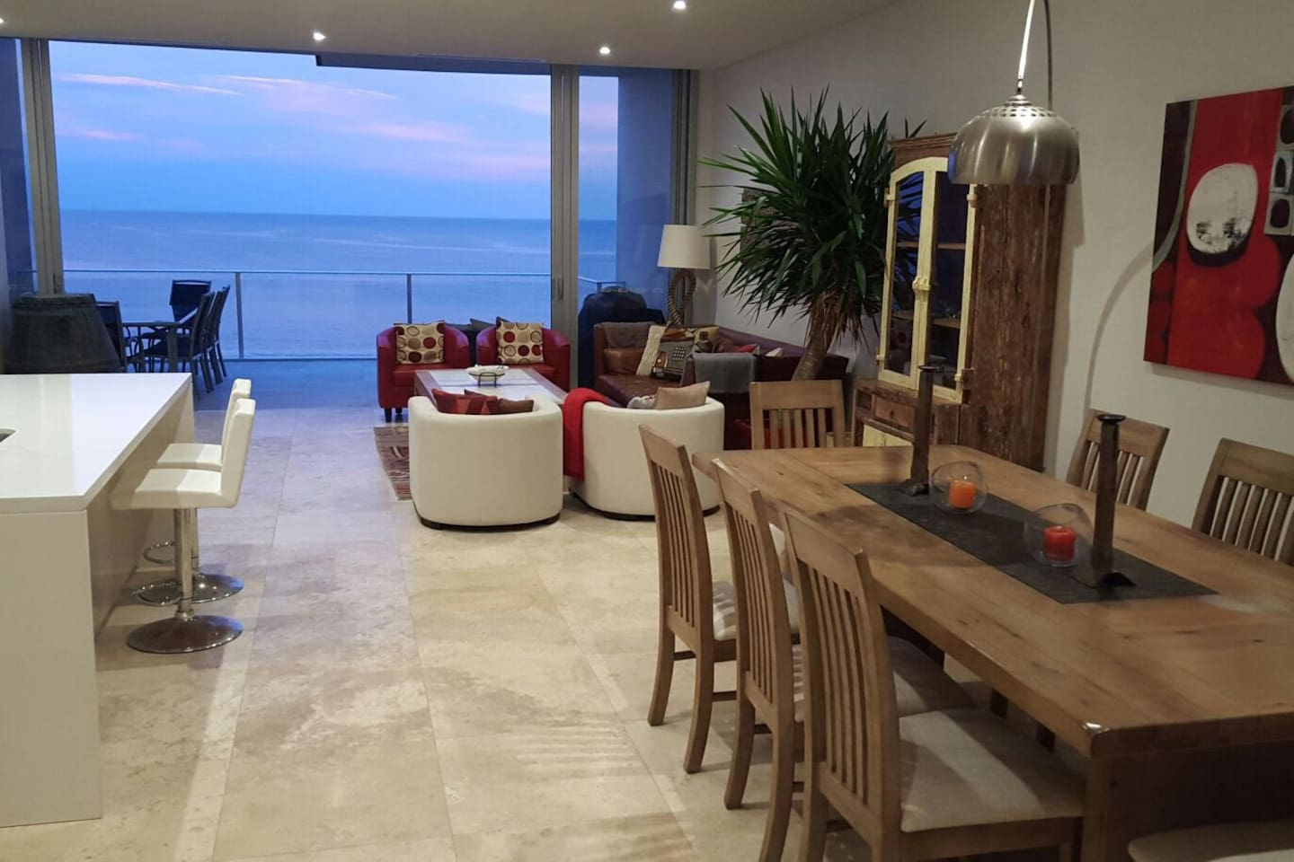 Main Living and Dining Area facing Beach Front