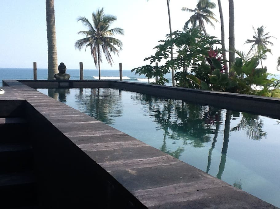 Pool looking out to Balian surf break with views to Ulawatu and East Java.