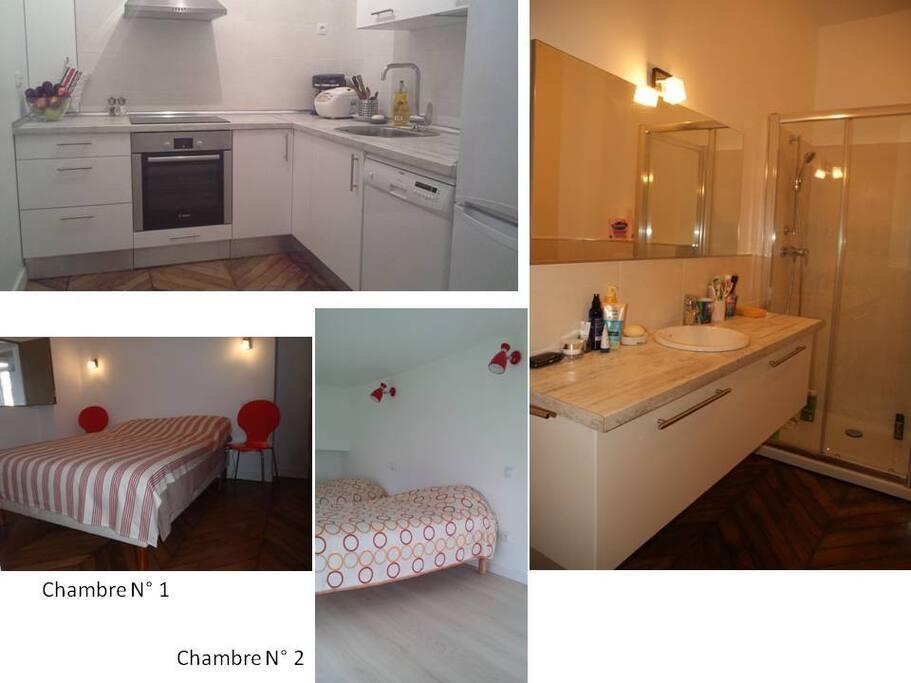 Cuisine équipée  et salle de bain/WC, Chambres