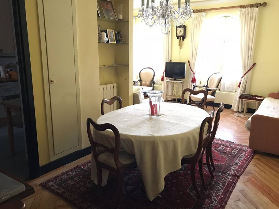 Dining table accomodates 8