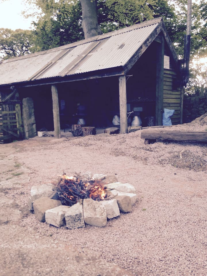 Camp fire and covered communal area (with stove)